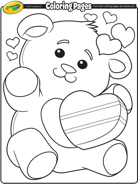 Crayola Free Coloring Pages Holidays Valentine S Day | valentine teddy bears free coloring pages