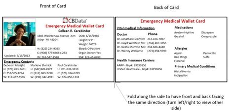 emergency contact card template wallets wallet card template emergency contact card template