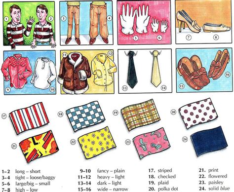describe pattern in words describing clothing english vocabulary with pictures