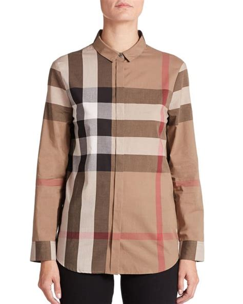 Blouse Jumbo burberry large check blouse in brown lyst
