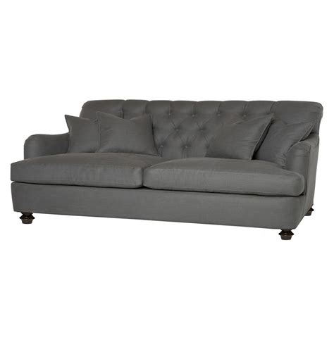 tufted rolled arm sofa cisco brothers clarence rolled arm feather tufted grey condo sofa 96 inch