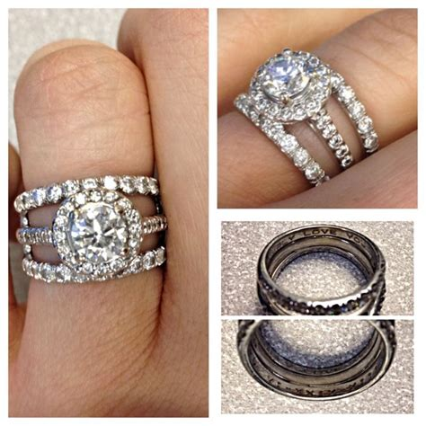 engagement ring and wedding bands halo cathedral setting bands are engraved with our wedding