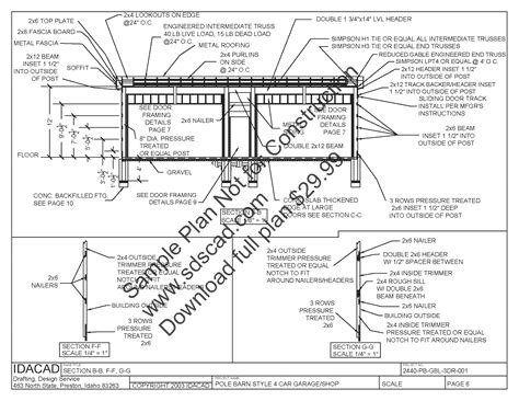 Free Pole Shed Plans by 63 24 X 40 Pole Barn Plans 4 Car Garage Plans Sds Plans