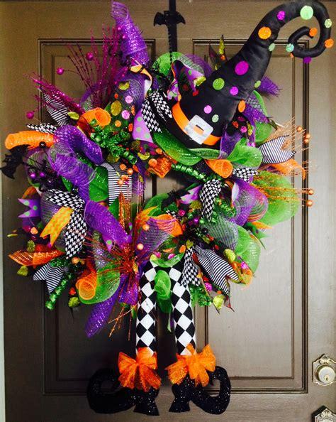 halloween wreath fall halloween deco mesh witch wreath halloween