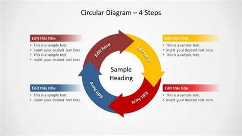 circular diagram with points of arrows sticking out circular diagram 4 steps for powerpoint slidemodel