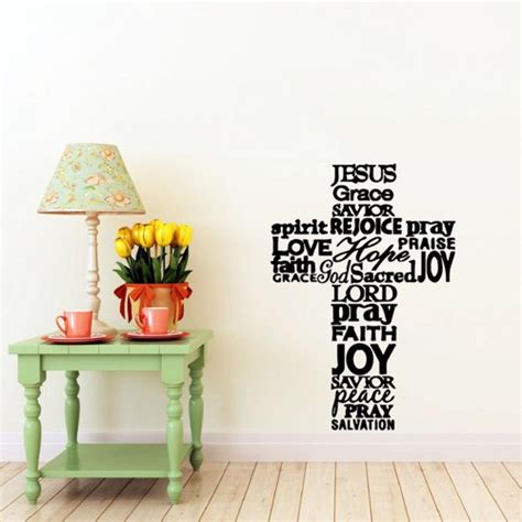 jesus home decor cross jesus christ wall decal religion prayer writing