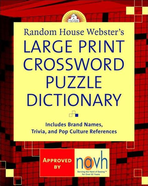 random house webster s large print crossword puzzle dictionary by stephen elliott paperback