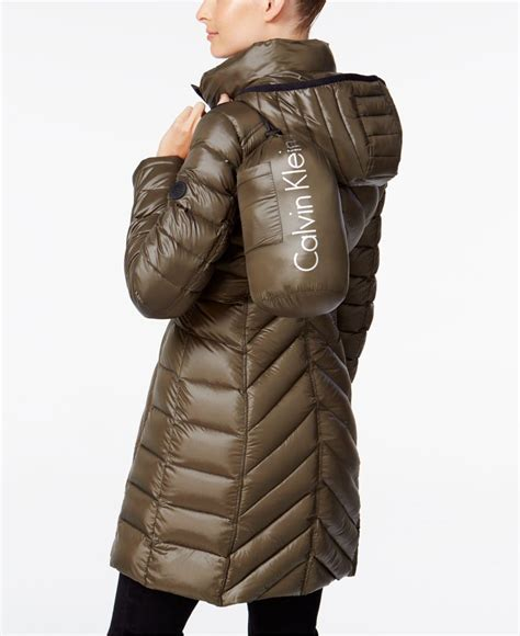 Calvin Klein Chevron Quilted Packable Puffer Coat by Calvin Klein Chevron Quilted Packable Puffer Coat In Brown