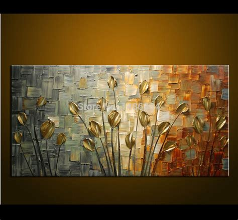 modern paintings for living room made painting palette knife thick paint golden flowers painting modern home canvas