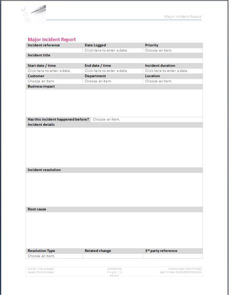 Major Incident Report Template Major Incident Form Template
