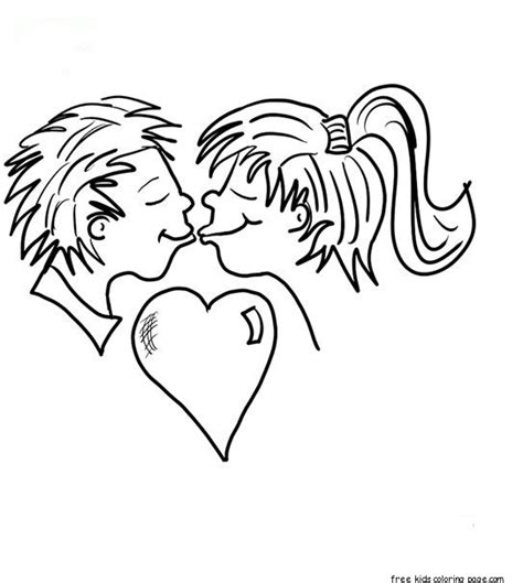 printabel valentine couple kissing coloring pages
