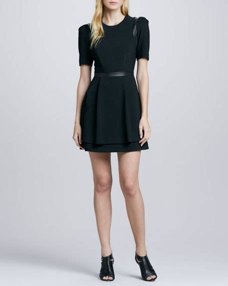 leather swing dress milly leather inset swing dress