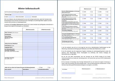 Muster Formular Nebenkostenabrechnung selbstauskunft des mieters mieterselbstauskunft