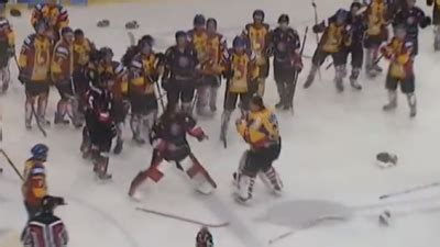 hockey bench clearing brawls goalies fight in bench clearing brawl in polish hockey