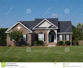 One Story One Story Brick Residential Home Stock Images Image 10219094