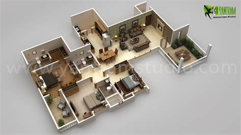 3d floor design modern house 3d floor plan design on behance