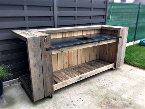 outdoor kitchen furniture pallet outdoor kitchen bar pallet ideas 1001 pallets