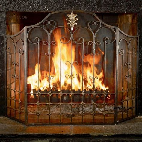 world country fireplace screen bronze scrolled