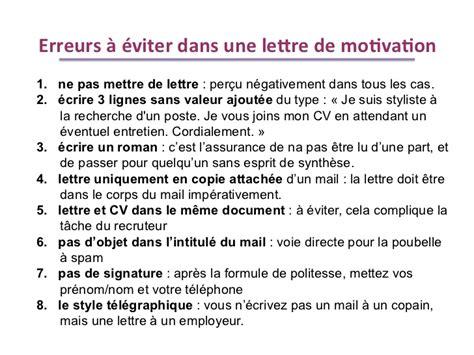 Ecrire Une Lettre De Presentation En Anglais faire une bonne lettre de motivation candidature spontan 233 e mise en demeure 2018