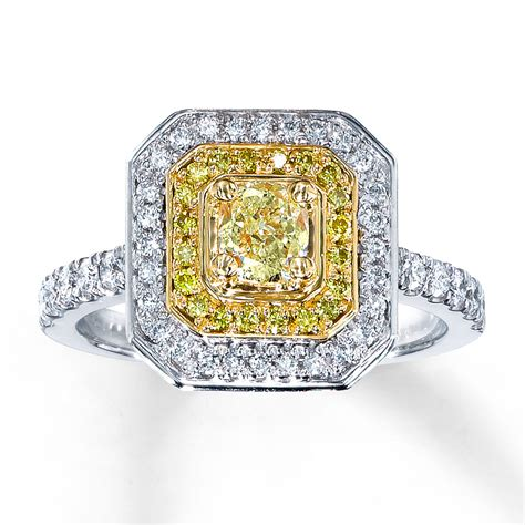 jared yellow ring 1 ct tw cushion cut 18k two