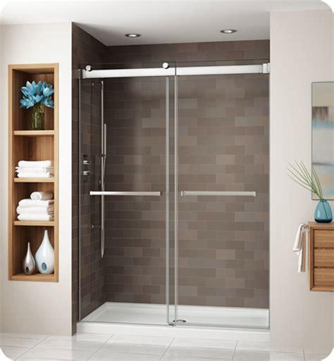Fleurco Shower Doors Fleurco Ng160 11 40 Gemini Frameless Bypass 60 Sliding Shower Doors With Hardware Finish Bright