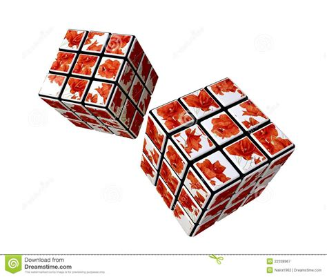flower pattern on rubik s cube cubes with flower pattern editorial photography image