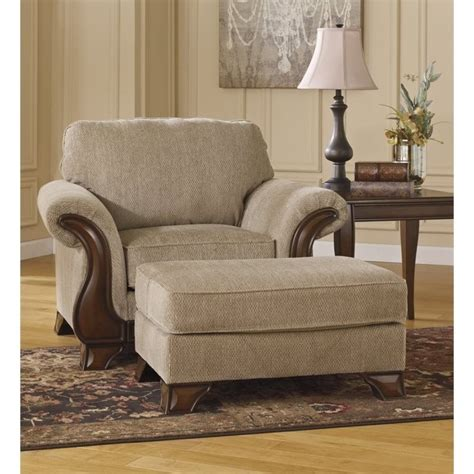 fabric chair with ottoman ashley lanett fabric accent chair with ottoman in barley