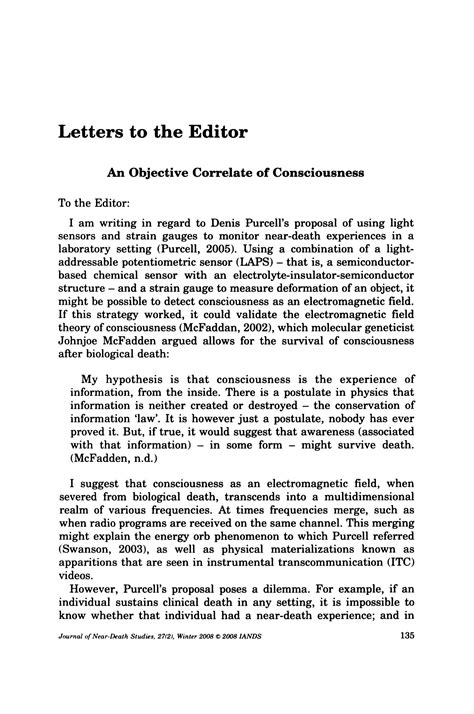 Letters to the Editor: An Objective Correlate of