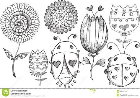 doodle up bug doodle flower bug vector set stock illustration
