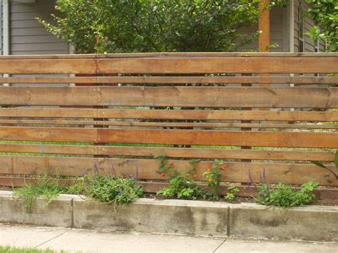 Horizontal Wood Fence Design Horizontal Wood Slat Fence With Concrete Base Totally Different Feel Than The Traditional