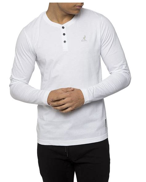 Sleeve Henley kangol mens henley sleeve t shirt in white