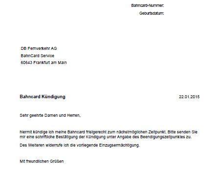 Adresse Brief Beispiel bahncard k 252 ndigen frist adresse k 252 ndigungsschreiben vorlage