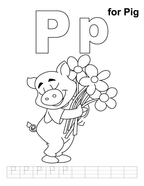 coloring book for a p p for pig coloring page with handwriting practice