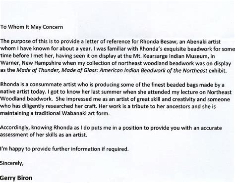 Reference Letter Without Signature Wabanaki Beadwork