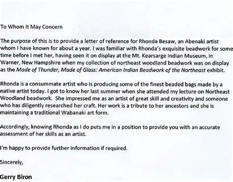 Recommendation Letter Without Signature Wabanaki Beadwork