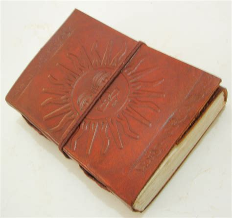 Handcrafted Leather Journals - handcrafted sun embossed leather journal handmade paper