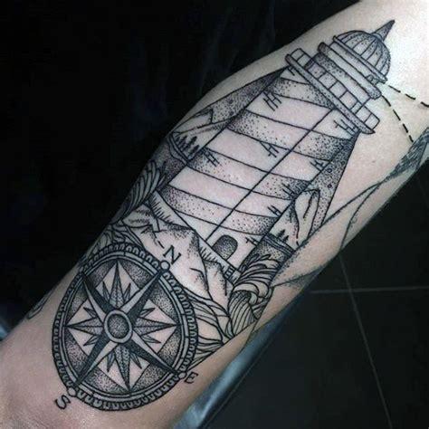 compass lighthouse tattoo 100 lighthouse tattoo designs for men a beacon of ideas