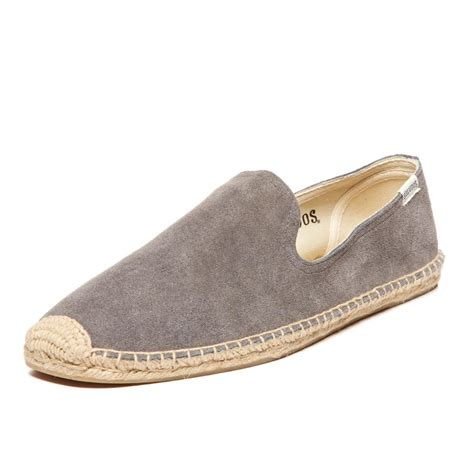 smoker slippers soludos mens suede slipper in gray for lyst