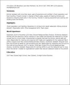 Kitchen Assistant Sle Resume by Professional Kitchen Assistant Templates To Showcase Your Talent Myperfectresume