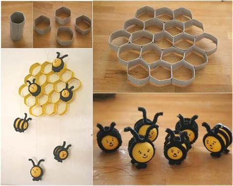 What Can I Make With Toilet Paper Rolls - how to diy lovely beehive and bees decoration from toilet
