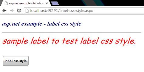design label in css how to apply css style to a label in asp net