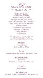wedding reception program template sle reception program wedding bells
