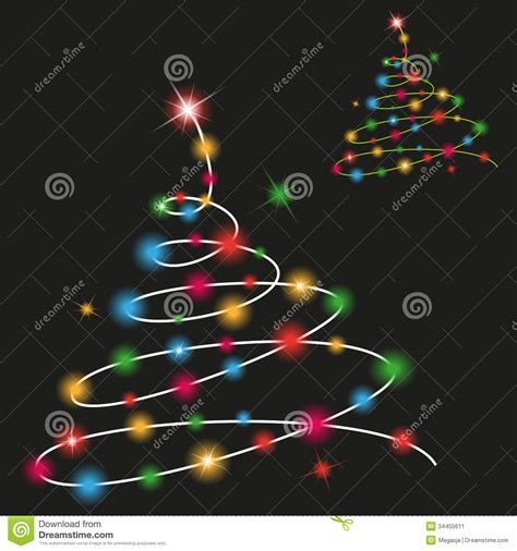 black colored christmas lights christmas tree with colored lights stock illustration