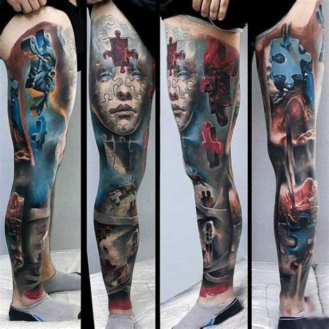 leg piece tattoo 70 puzzle designs for inquisitive mind ink