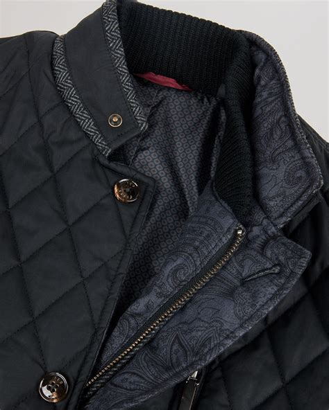 ted baker garyen quilted jacket in black for lyst