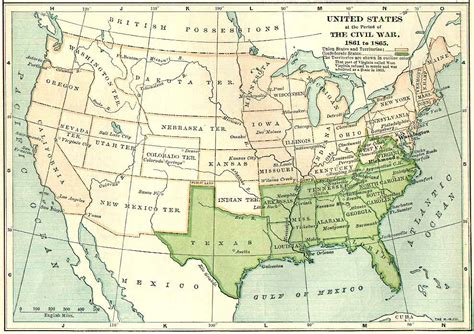 civil war states map maps united states map in 1861