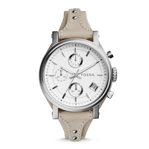 Jam Tangan Fossil Es 3625 original boyfriend chronograph beige leather fossil
