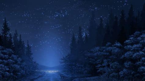wallpaper pohon bintang kertas dinding hutan langit jalan salju bintang rubah