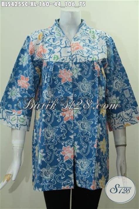 Baju Putih Batik baju blus biru kombinasi putih dengan motif terbaru yang berkelas busana kerja batik wanita