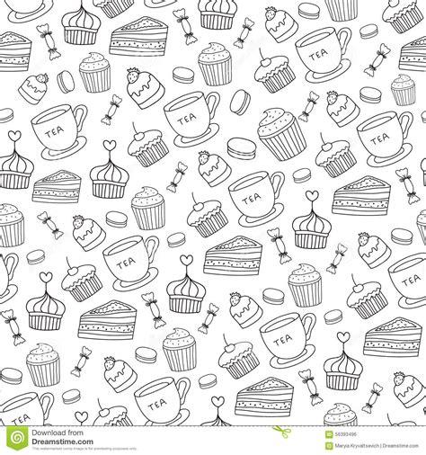 Stiker Pengiriman Shop Black Doodle doodle vector bakery cakes and dessert tea stock vector illustration 56393496